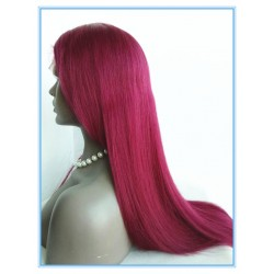 Peruvian virgin Red Purple silk straight full lace wig--SS118
