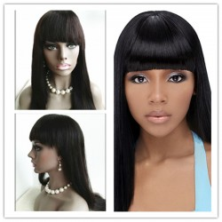Stock Mongolia virgin silk straight with a cute BANG full lace wig-[SS004]