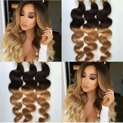 3 bundles brazilian virgin body wave ombre color machine wefts