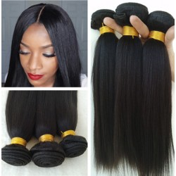 Stock 3 bundles brazilian virgin yaki straight wefts