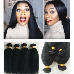 4 bundles brazilian virgin kinky straight wefts-[ks4]
