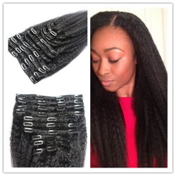 3 bundles Clips in brazilian virgin kinky straight machine wefts