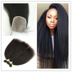 3 bundles Brazilian virgin Kinky Straight with a silk base closure