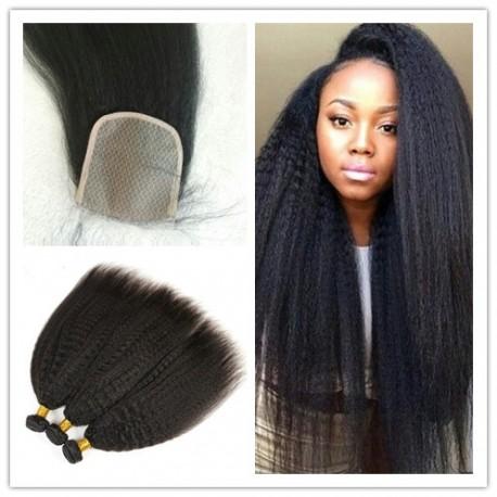 Kinky Straight 3 brazilian virgin bundles with a brazilian virgin closure--100% human hair,unprocessed