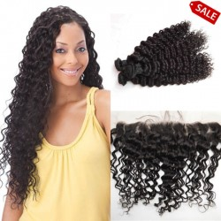 Deep wave 3 brazilian virgin bundles with a brazilian virgin frontal