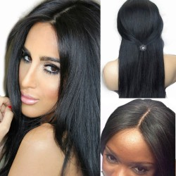 Peruvian virgin natural straight gluless full lace wig-[NS002]