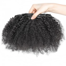 Brazilian virgin Afro curl clips in--one bundle