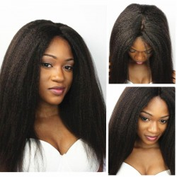 Glueless lace front wig-Brazilian virgin italian yaki