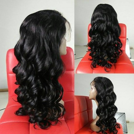 Brazilian virgin loose wave full lace silk top bleached knots wig