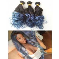 3 bundles--Brazilian virgin ocean wave ombre grey human hair weaves