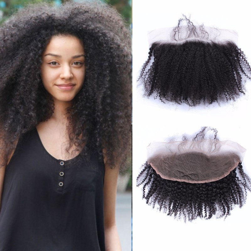 Brazilian Virgin Human Hair Kinky Curl Lace Frontal For