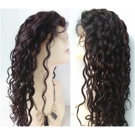 Brazilian virgin water wave full lace bleached knots wig