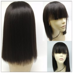 Brazilian virgin Cute bob with bang gluless full lace silk top wig---even hair-[BOB333]
