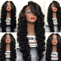 Brazilian virgin Big loose wave middle part full lace wig-[WWW004]
