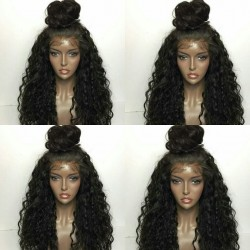 Brazilian virgin Deep Wave full lace bleached knots wig-[WWW005]