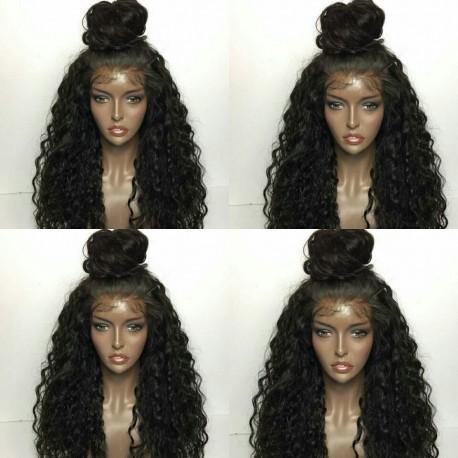 Brazilian virgin Deep Wave full lace bleached knots wig