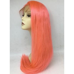 Brazilian virgin pink color silk straight lace front wefts back wig-[BEAPINK]