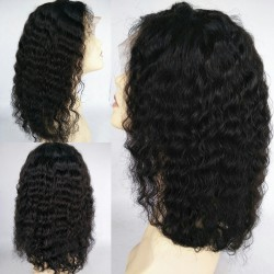 Brazilian virgin LOOSE DEEP WAVE full lace bleached knots wig-[WWW007]
