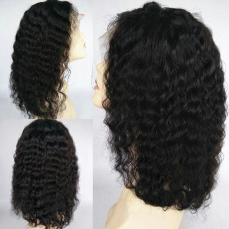 Brazilian virgin LOOSE DEEP WAVE full lace bleached knots wig-[WWW007]