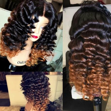 Brazilian virgin Deep Wave ombre blonde lace wig-[WWW008]