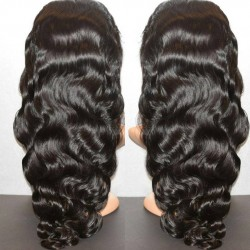 Brazilian virgin body wave full lace silk top bleached knots wig-[WWW333]