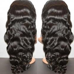 Brazilian virgin body wave full lace silk top bleached knots wig-[WWW333]