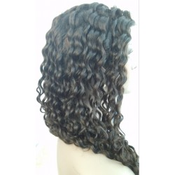 Stock Indian remy deep wave human hair full lace silk top wig