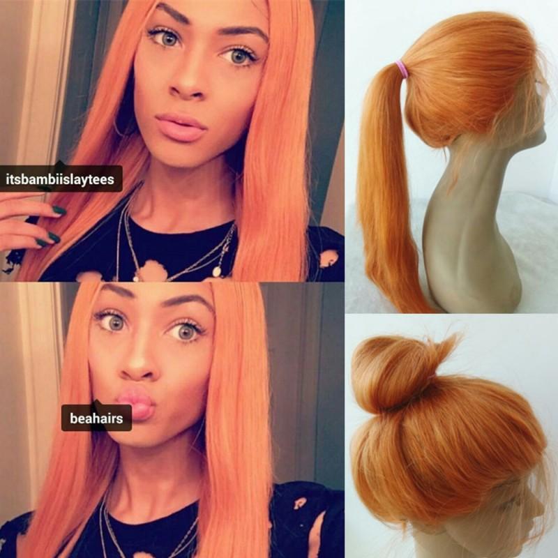 Brazilian Virgin Orange Straight Lace Front Wig