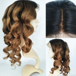 Brazilian virgin BEYONCE WAVE full lace silk top bleached knots wig-[HT555]