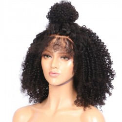 Brazilian virgin kinky wave 360 frontal wig with weaves sewn in-[HT678]