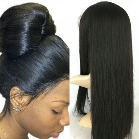 Brazilian virgin silky straight 360 frontal wig with weaves sewn in-[HY888]