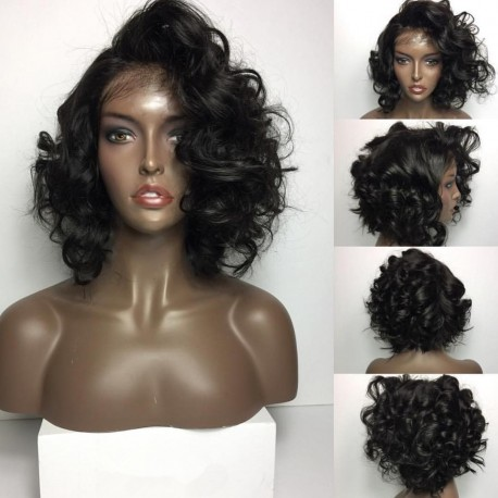 Brazilian virgin Bob Wave full lace bleached knots wig-[bh567]
