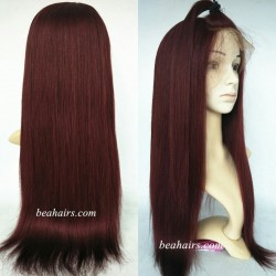 Brazilian virgin light yaki burgundy 360 frontal lace wig [HT699]