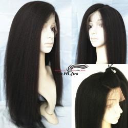 Brazilian virgin Italian yaki 360 frontal wig with weaves sewn in-[HT256]