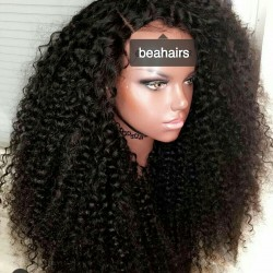 Brazilian virgin Spanish Curl 360 frontal wig with weaves sewn in-[HT222]