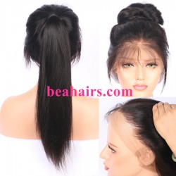 Malaysian virgin silky straight glueless full lace silk top wig-[bh333]