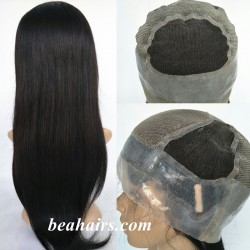 silicone cap human hair wig for cancer and alopecia-[CM001]