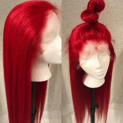 Brazilian virgin silk straight red color 360 frontal lace wig [HT696]