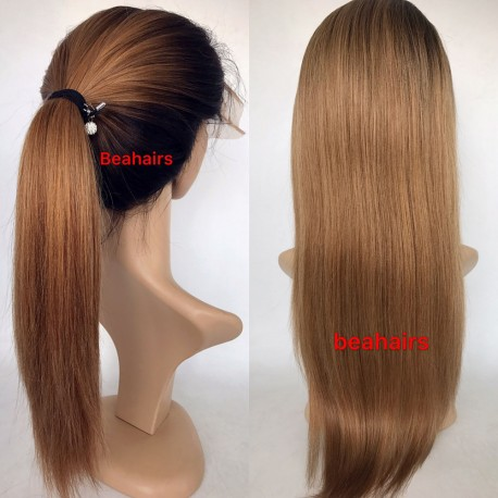 Burmese virgin Light Yaki Ombre stock full lace silk top wig--LY001