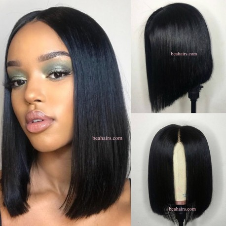 Glueless lace front bob-Brazilian virgin silk straight-- [LFW001]