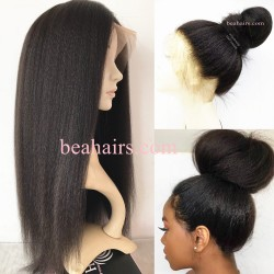 Brazilian virgin kinky straight 360 frontal wig with weaves sewn in-[KS333]