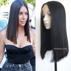 Summer Long Blunt Cut Bob--brazilian virgin 360 frontal lace wig