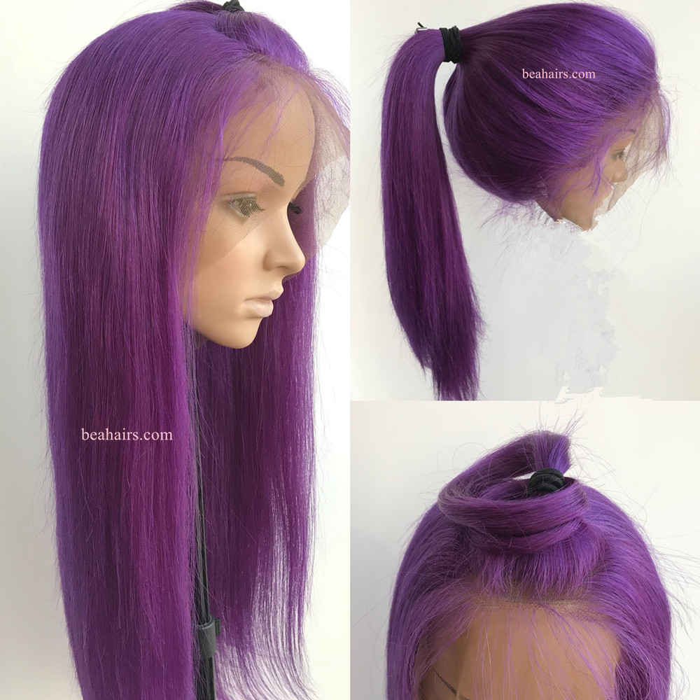 Brazilian Virgin Silk Straight Purple Color 360 Frontal