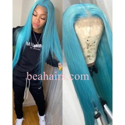 100% Brazilian virgin blue color human hair lace front wig---[CW345]