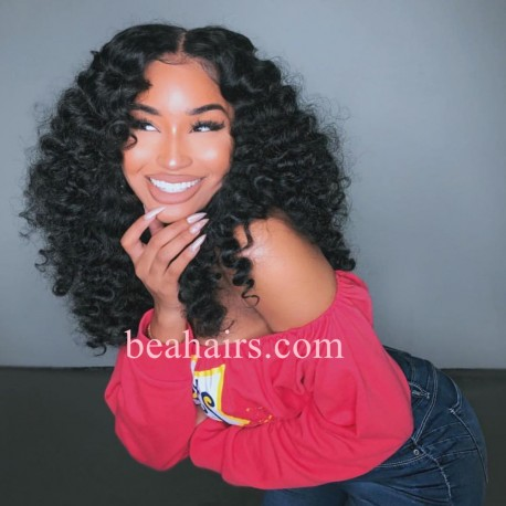 Beach Wave 370 Lace Wig Real Hair Wigs Deep Part Lace Frontal Wig--HT379
