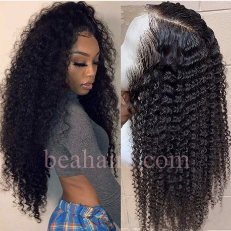 Deep Curly 370 Lace Wig Real Hair Wigs Deep Part Lace Frontal Wig--HT381