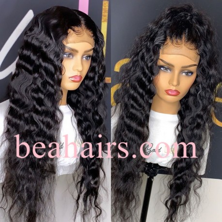 Wet Wave 370 Lace Wig Real Hair Wigs Deep Part Lace Frontal Wig--HT377