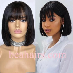 10A grade Pre plucked bleached blunt cut bang bob--NLW460