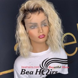 Ready to wear blonde curly bob lace front wigs-BC253