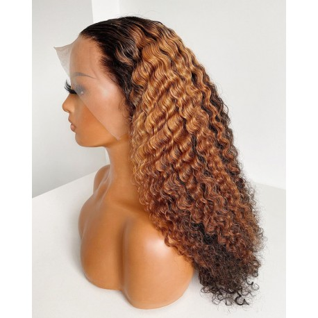 Stock 150% Density blonde curly lace front wig--NLW888